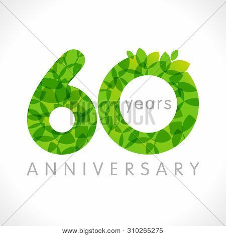 60 Th Anniversary Numbers. 60 Years Old Logotype. Age Congrats, Congratulation Idea With Leaves. Iso