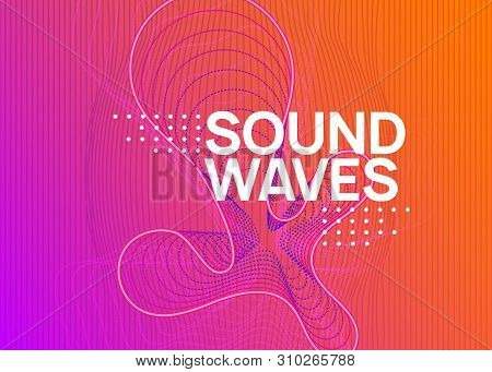 Music Fest. Dynamic Fluid Shape And Line. Creative Discotheque Banner Layout. Music Fest Neon Flyer.