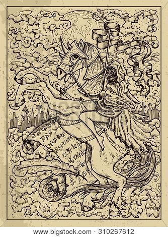 Rider. Mystic Concept For Lenormand Oracle Tarot Card. Vector Engraved Illustration. Fantasy Line Ar