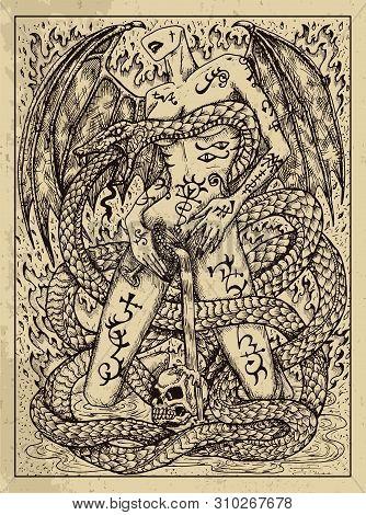 Snake. Mystic Concept For Lenormand Oracle Tarot Card. Vector Engraved Illustration. Fantasy Line Ar