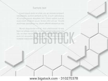 Abstract White Hexagonal Background. Hexagon Pattern And Texture.