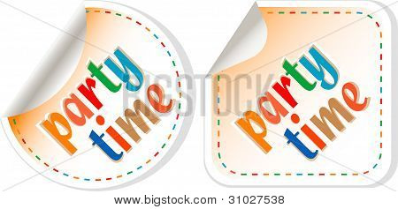 Party Time, Handwritten Label Set, Isolated In White