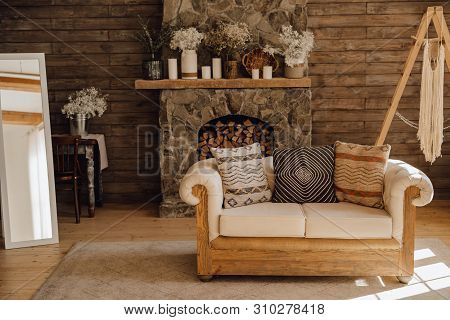 Chalet Cozy Interior Wooden Sofa And Fireplace. Rustic Home Design For Warm Indoor Space Alpine Vaca