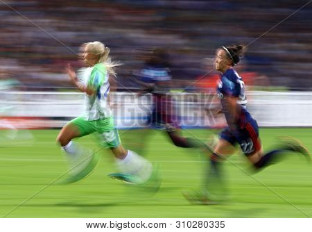 Kyiv, Ukraine - May 24, 2018: Pernille Harder Of Vfl Wolfsburg (l), Griedge Mbock Bathy (c) And Lucy