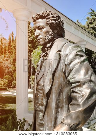 Partenit, Crimea - 25 June 2019: Monument To Alexandr Sergeevich Pushkin In The Sun, Greatest Russia