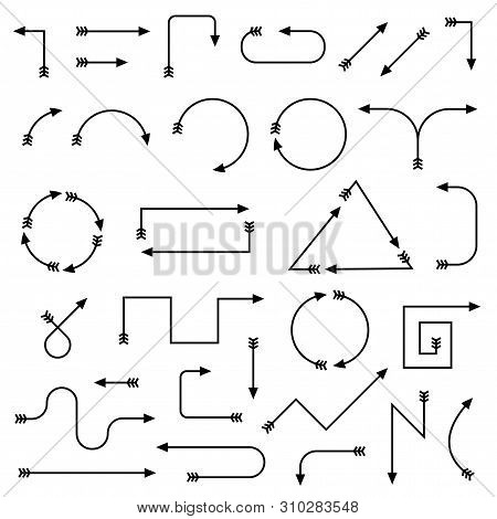 Thin Arrows. Black Simple Design Elements. Vector Illustration Isolated On White Background
