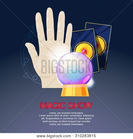 Magic Show, Trick Performance, Circus Background Banner Vector Illustration. Accessories For Magicia