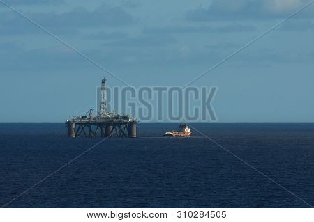 Ocean Platform With Red Boat On Open Ocean, South Africa