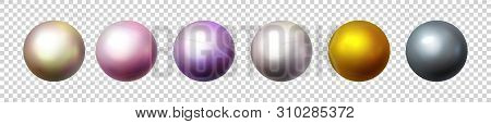 Shiny Pearl Isolated On Transparent Background. Multicolored Orbs, Spherical Balls And 3d Circle Gla