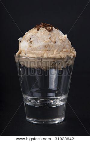 delicious coffee ice cream black background