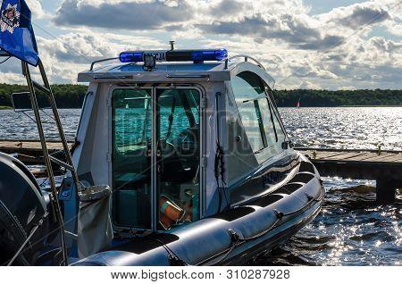 Szczecinek, West Pomeranian / Poland - 2019: A Police Boat Prepared For Activities That Ensure Safet