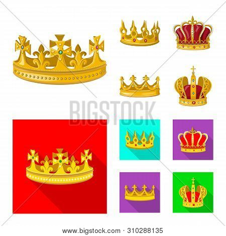 Vector illustration of medieval and nobility symbol. Set of medieval and monarchy vector icon for stock. poster