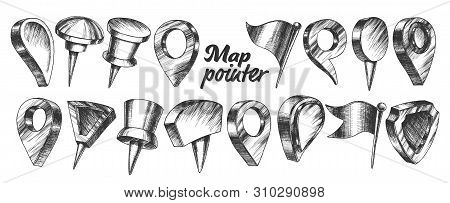 Collection Of Different Map Pointer Set Vector. Thumbtack Pushpin Pointer And Gps Location Marker In