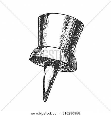 Thumbtack Push Pin Office Business Tool Vector. Thumbtack Equipment For Attach On Noticeboard. Metal