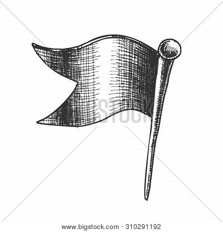 Stationery Pushpin Clinch In Wave Flag Form Vector. Prick Pushpin For Mark Travel Visited Place On M