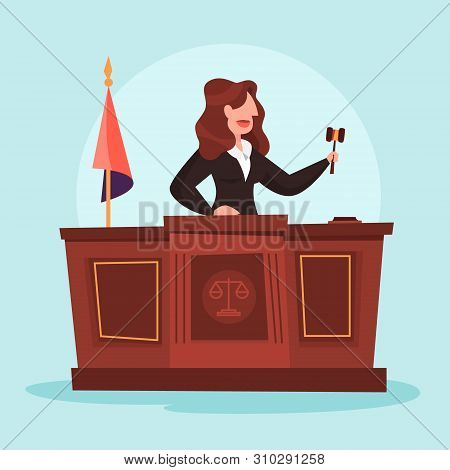 Judge Woman In The Courtroom. Female Character In Uniform