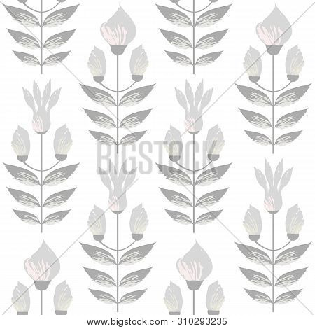 Beautiful Warm Grey And Pastel Flowers In Minimal Damask Style Design. Seamless Vector Pattern On Su