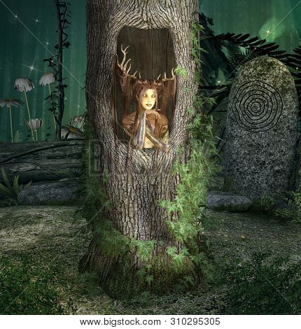 Fantasy Creature Inside A Trunk In The Middle Of The Enchanted Forest - 3d Illustration