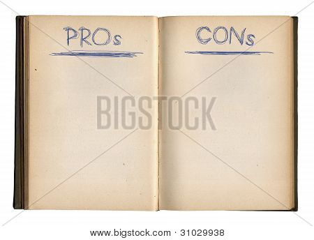 Open Empty Pros And Cons Book