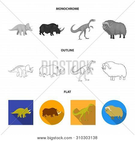 Vector Design Of Animal And Character Sign. Set Of Animal And Ancient Stock Symbol For Web.
