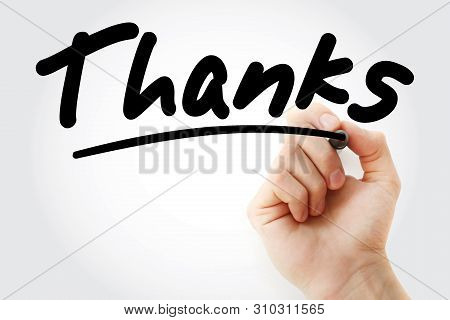 Thanks Text With Marker, Business Concept Background
