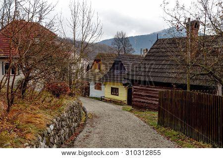 Traditional Folk Historic Wooden Houses In Vlkolinec Open Air Museum Near Ruzomberok City In Slovaki