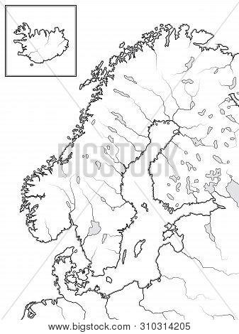 Map Of The Scandinavian Lands: Scandinavia, Sweden, Norway, Finland, Lapland, Karelia, Baltia, Denma