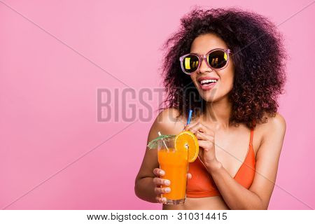 Close Up Photo Beautiful She Her Dark Skin Lady Enjoy Alco Non Sweet Diet Beverage Hold Fingers Stra