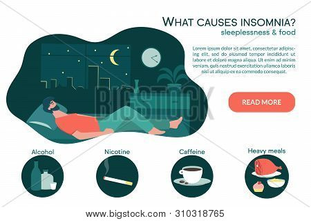 Male Insomniac Lying In Bed At Night. Tired Man Suffer From Sleeping Disorder, Insomnia, Nightmare,