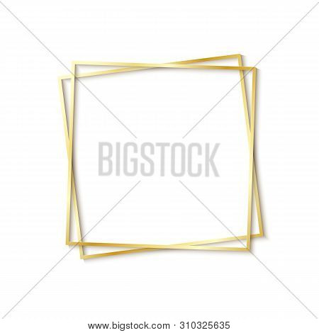 Paper Cut Gold Frame With Realistic Shadow. Two Golden Inclined Square Frames Lie One On Another. Ve