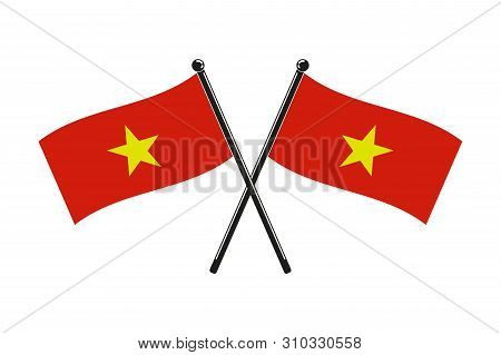 National Flags Of Socialist Republic Of Vietnam Crossed,  In The Original Colours On The Sticks