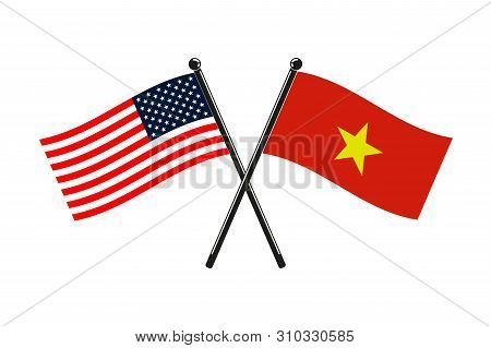 National Flags Of Socialist Republic Of Vietnam And Usa Crossed On The Sticks In The Original Colour
