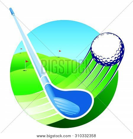 Approach To A Blue Golf Club Hitting A Ball With Speed Lines With A Green Golf Course With A Flag In