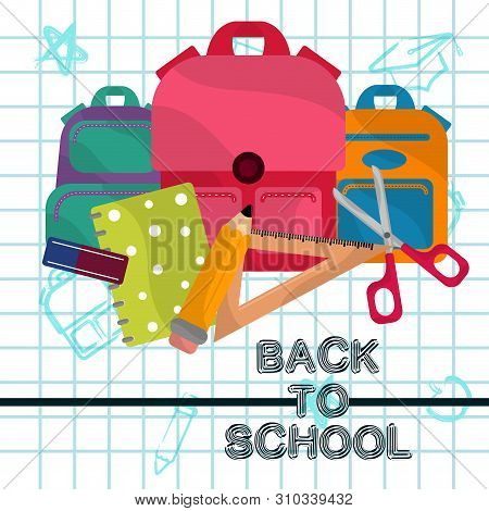Back To School Image With Shool Objects On A Grid Background - Vector- Vector