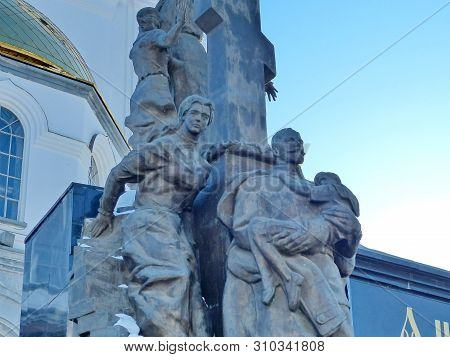 Yekaterinburg, Russia-03/20/2019: Fragment Sculptural Composition `royal Passion-bearers` A Few Minu