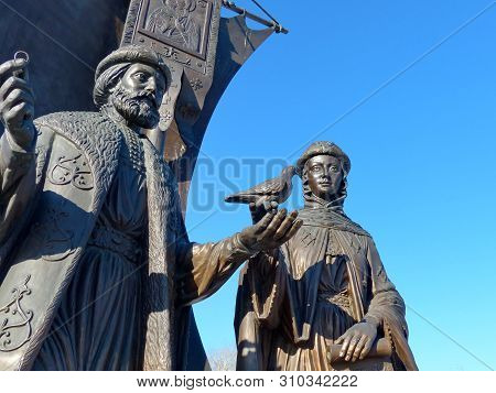 Yekaterinburg, Russia-03/20/2019: Monument To St. Prince Peter And St. Fevronia Of Murom, Patrons Of