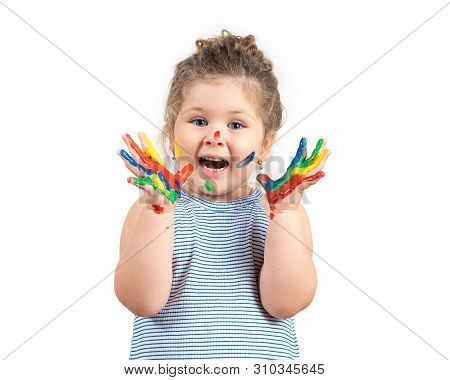 Smiling Little Girl With Hands In The Paint On White Background.