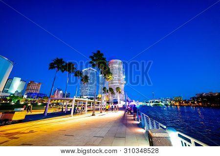 Colorful Night In Tampa Riverwalk. Florida, Usa