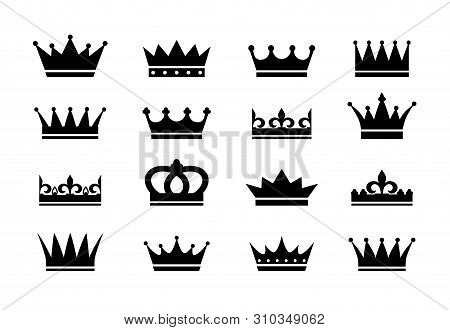 Set Of Crown Icons. Collection Of Crown Awards For Winners, Champions, Leadership. Vector Isolated E
