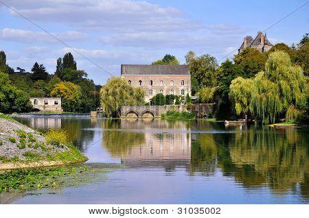 Sarthe river in France