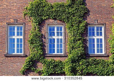 Three Window On A Red Brick Wall.