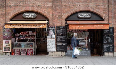 Munich, Bavaria, Germany - May 29, 2019. Facade Of A Store Selling Preserved Meats At The Victuals M