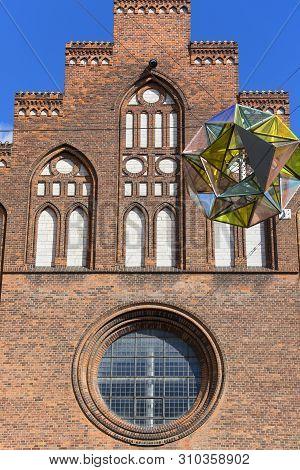 Copenhagen Maria Church, Facade With Great Colorful Light Sphere, Copenhagen, Denmark