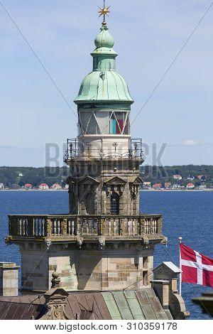 Medieval Kronborg Castle On The Oresund Strait, Observation Tower, Baltic Sea, Helsingor, Denmark