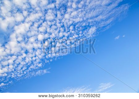 Blue Sky With White Clouds. Natural Landscape. Background.