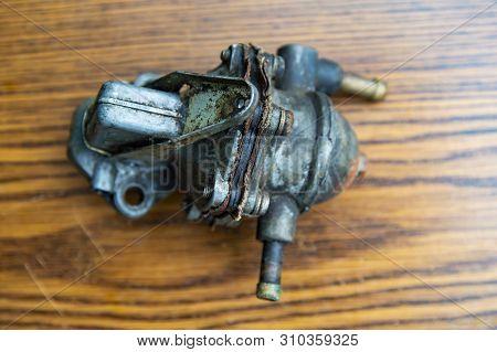 Gasoline Pump Of The Old Carburetor Car. Car Repair.