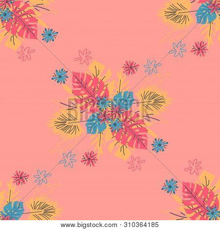 Seamless Pattern With Tropical Leaves. Hand Drawn Summer Print