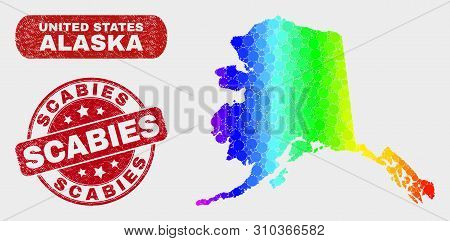 Spectrum Dot Alaska Map And Rubber Prints. Red Round Scabies Textured Seal Stamp. Gradient Rainbow C