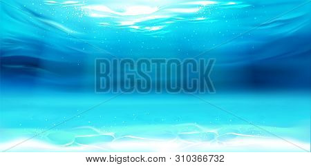 Underwater Background, Water Surface, Ocean, Sea, Swimming Pool Transparent Aqua Texture With Waves,