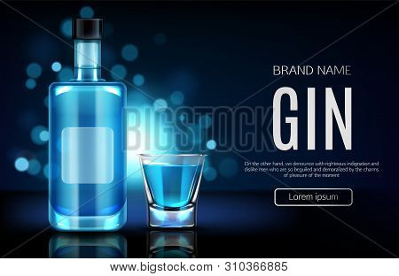 Elite Alcohol Drinks Online Shop Realistic Vector Web Banner, Landing Page Template. Gin Glass Bottl